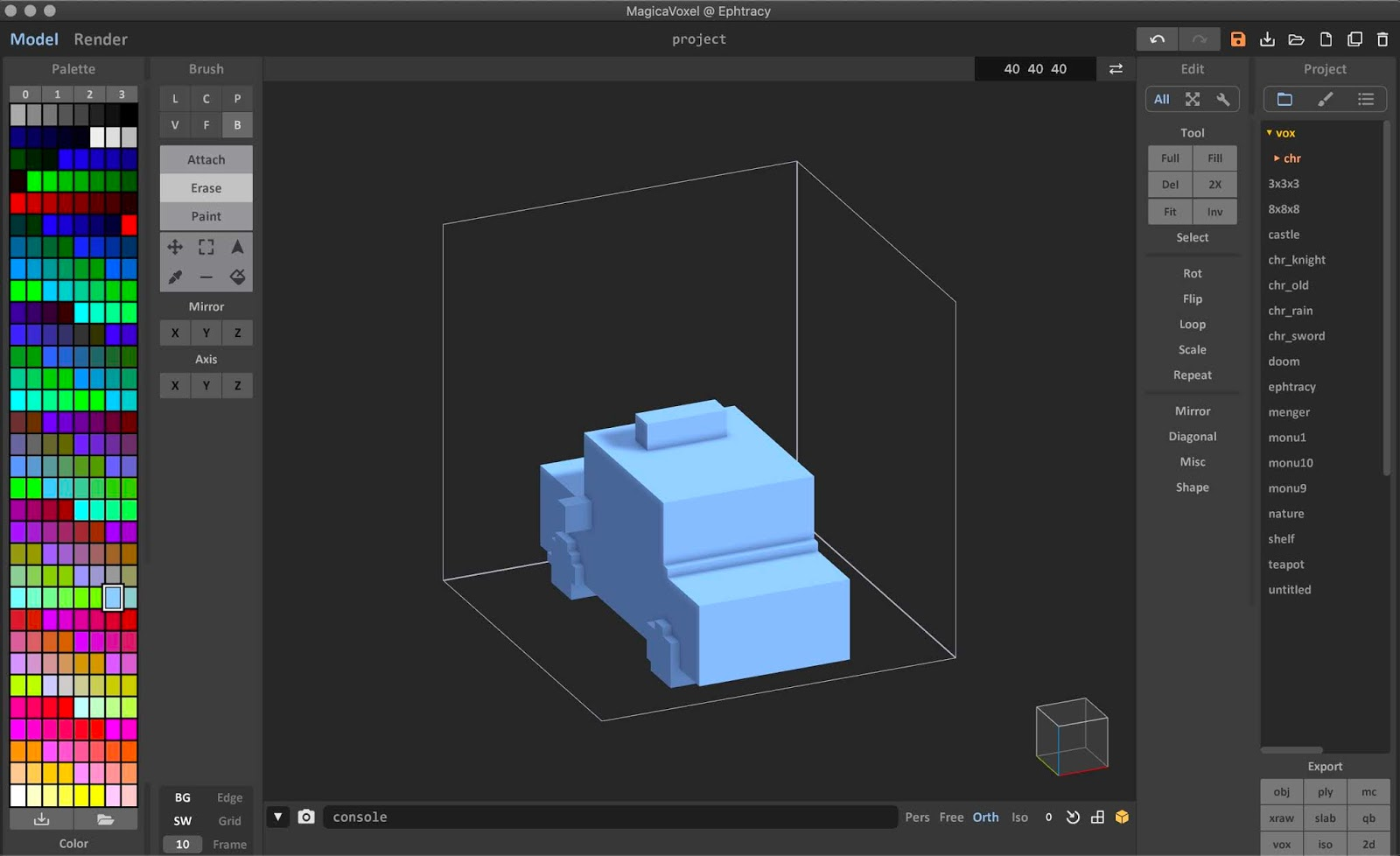 MagicaVoxel built-in mesh to voxel converter