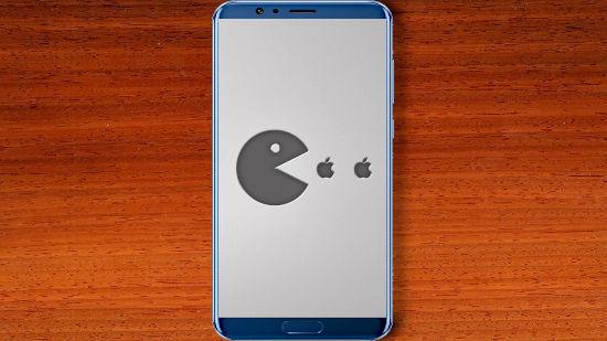 Pac-Man Mange Apple Gris - FHD pour Mobile