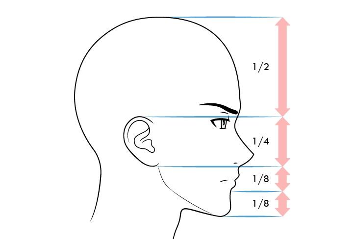 Anime laki-laki wajah proporsi tampilan samping ekspresi mengerutkan kening