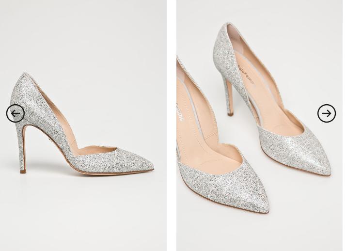 Solo Femme - Pantofi cu toc gri de ocazii de firma piele naturala