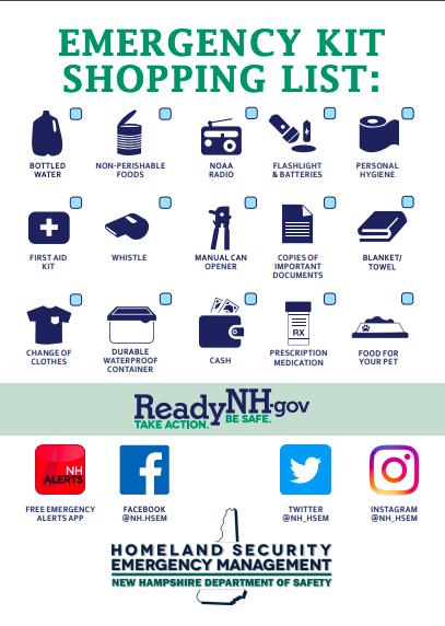Recomendaciones del Kit de Emergencia del Estado de New Hampshire