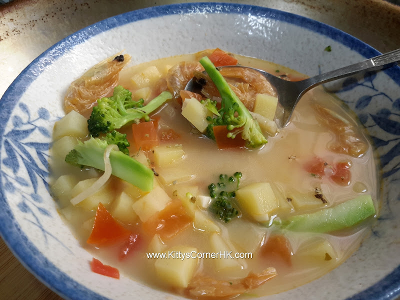 Potato Veggie Soup With Dried Shrimp recipe 薯粒蝦乾菜蔬湯自家食譜