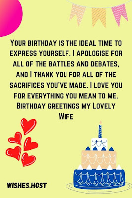 birthday wishes for wife card