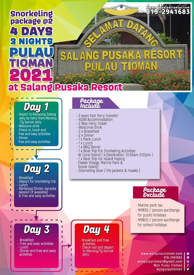Pakej Percutian 4 Hari 3 Malam Ke Pulau Tioman 2021 - Salang Pusaka Resort Snorkeling Dua Hari ~ Pulau Tioman