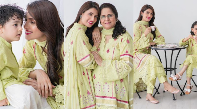 Ayeza Khan Beautiful Photoshoot with Mother and Children