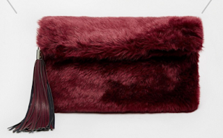 Asks Faux Fur Roll Top Clutch Bag