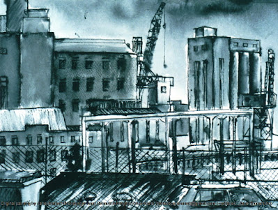 Plein air ink & wash painting of the CSR from Pyrmont Point by industrial heritage artist Jane Bennett