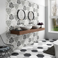 Amazing bathroom backsplash for unique bathroom decor with hexagon tiles and black and white color tone