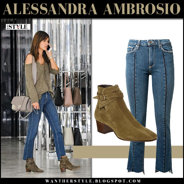 Alessandra Ambrosio in green sweater, jeans and suede ankle boots saint laurent blake what she wore model style