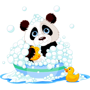 Bubble bath panda