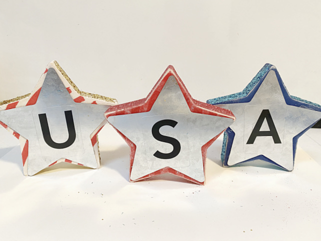 USA letters on a galvanized steel and wooden star