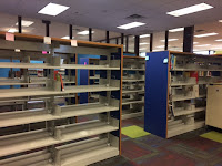 Empty shelves in children's area
