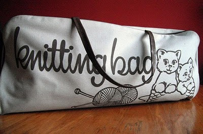 kittens vintage knitting bag