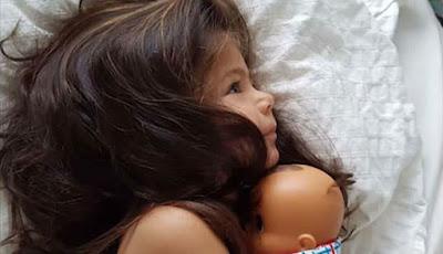 Arya Bilqin sang model cilik dengan rambut bak Rapunzel