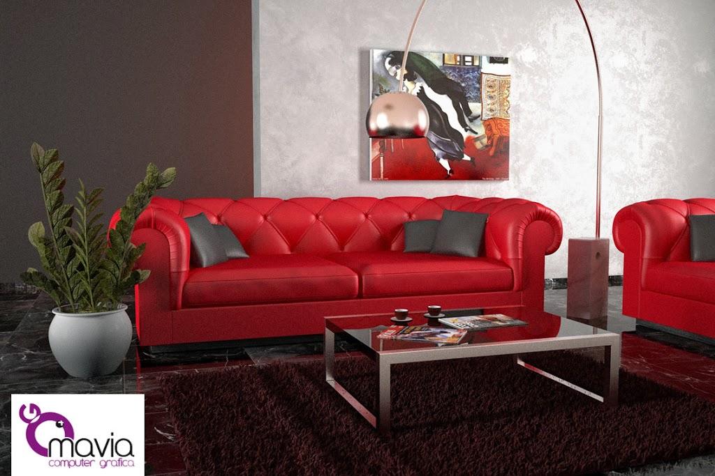 Divano Rosso Arredamento.Arredamento Di Interni Divani Divano Rosso In Pelle Ed In