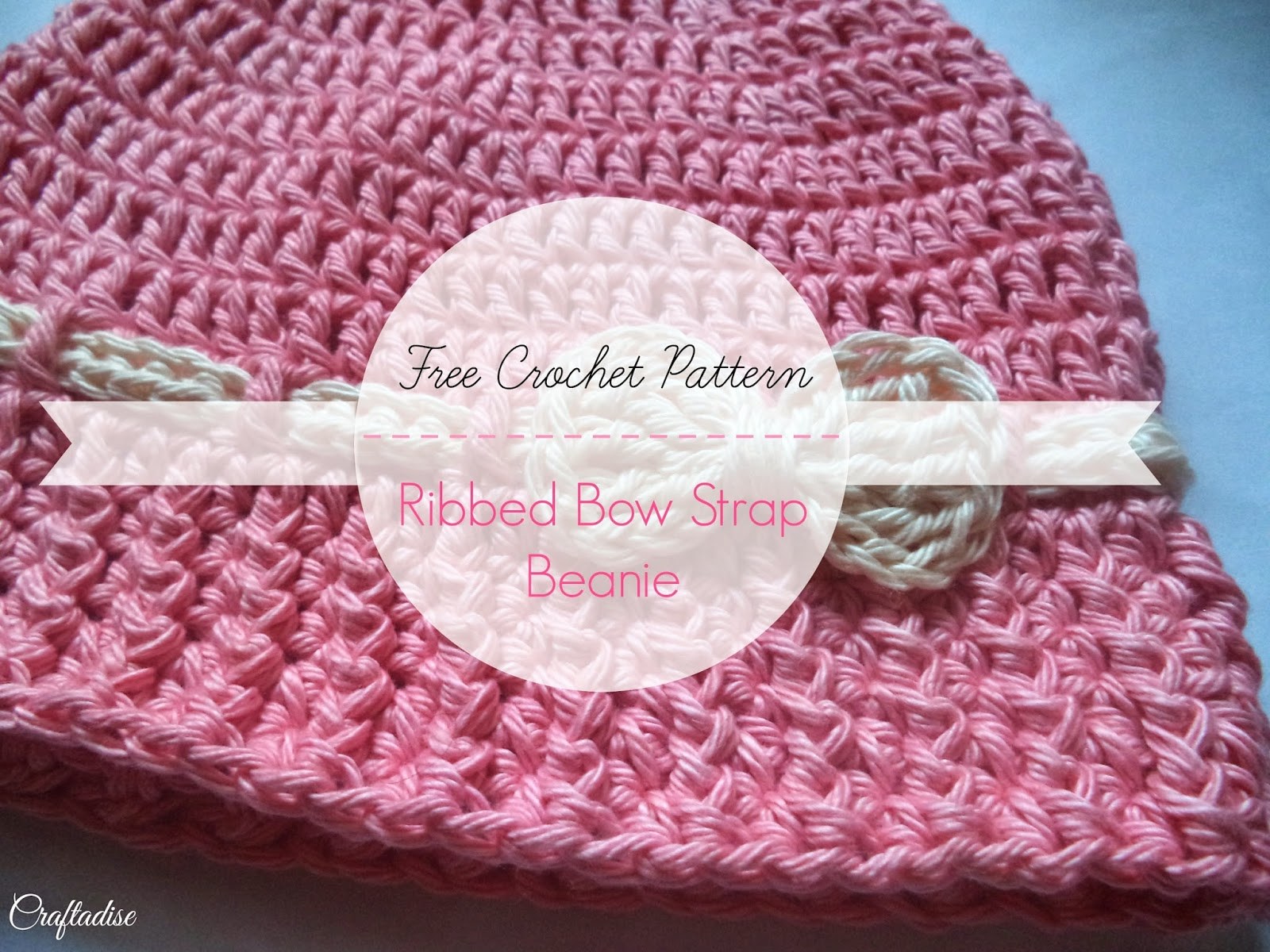 Free Crochet Pattern: Ribbed-Bow Strap Beanie