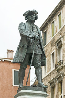 Antonio Dal Zòtto's statue of Goldoni in Piazza San Bartolomeo in Venice