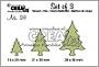 Set van 3 stansen voor kerstboompjes. Set of 3 dies for Christmas trees.
