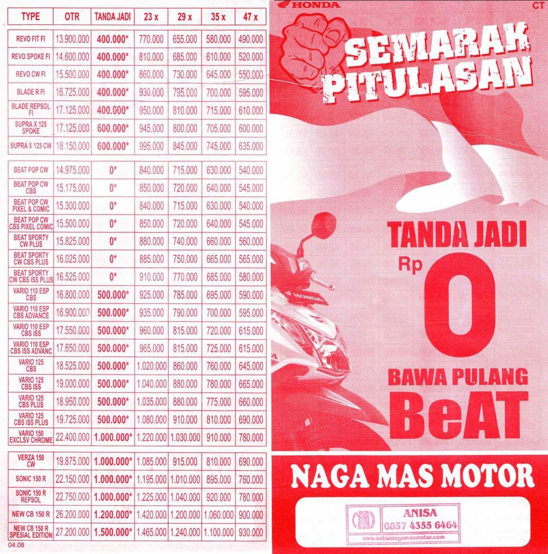 Anisa Counter Sales Dealer Nagamas Motor Klaten All New Beat Sporty Esp Cbs Iss Soul Red White Kota Semarang Promo Juli
