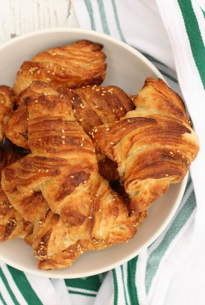 Pretzel Croissants with sesame seeds