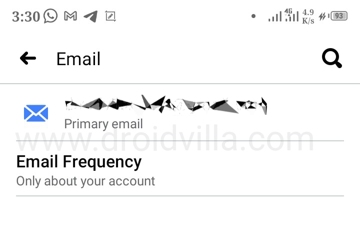 Email notifications Only about your Facebook account