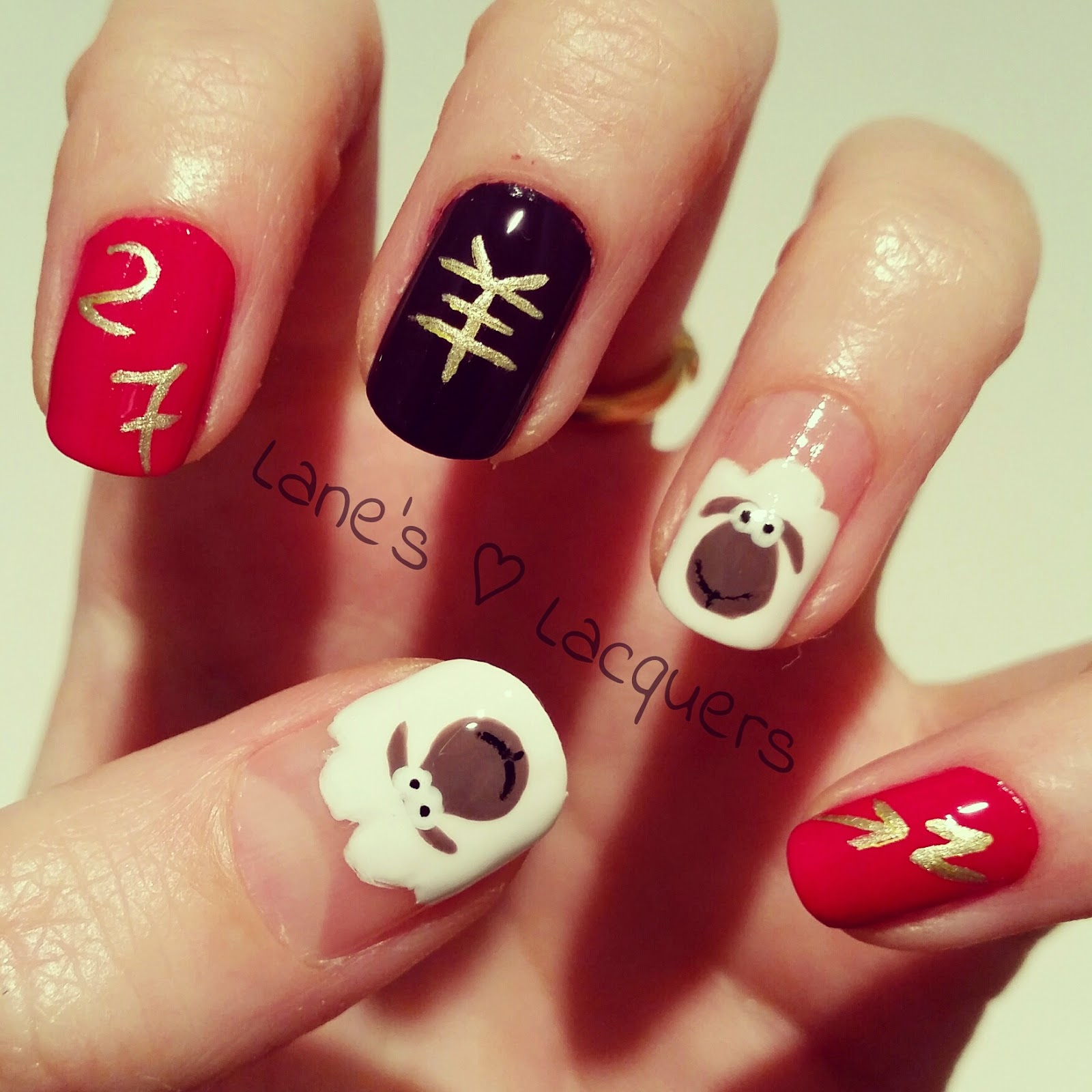 Simple Nail Art For Chinese New Year: Lane's Lacquers: Chinese New Year Manicure