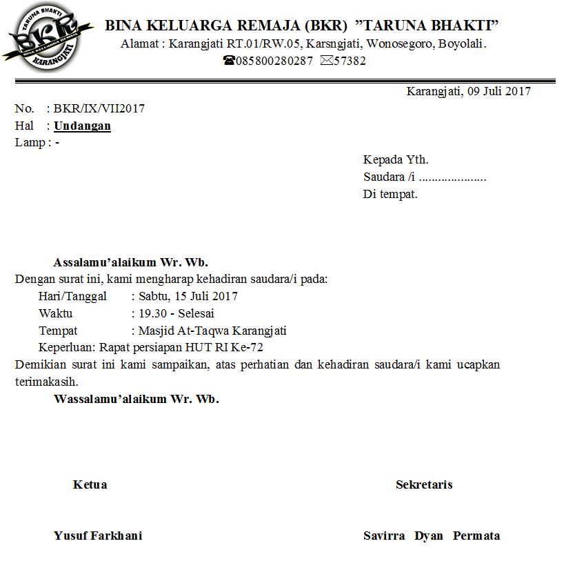 Bkr Taruna Bhakti Format Surat Undangan Resmi