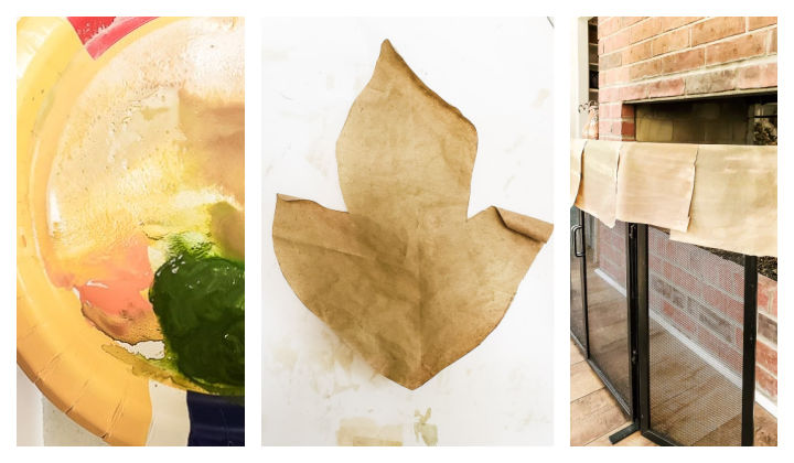 paint paper leaves and brown paper sheets
