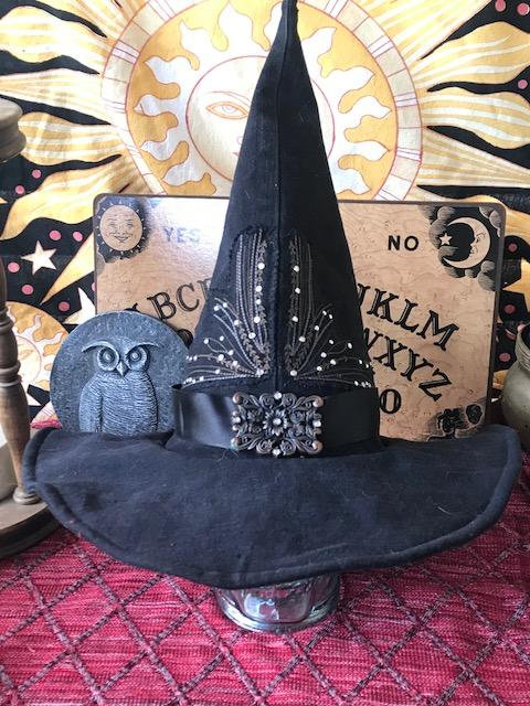 denim witch hat, casual witch hat, modern witch hat, wizard hat