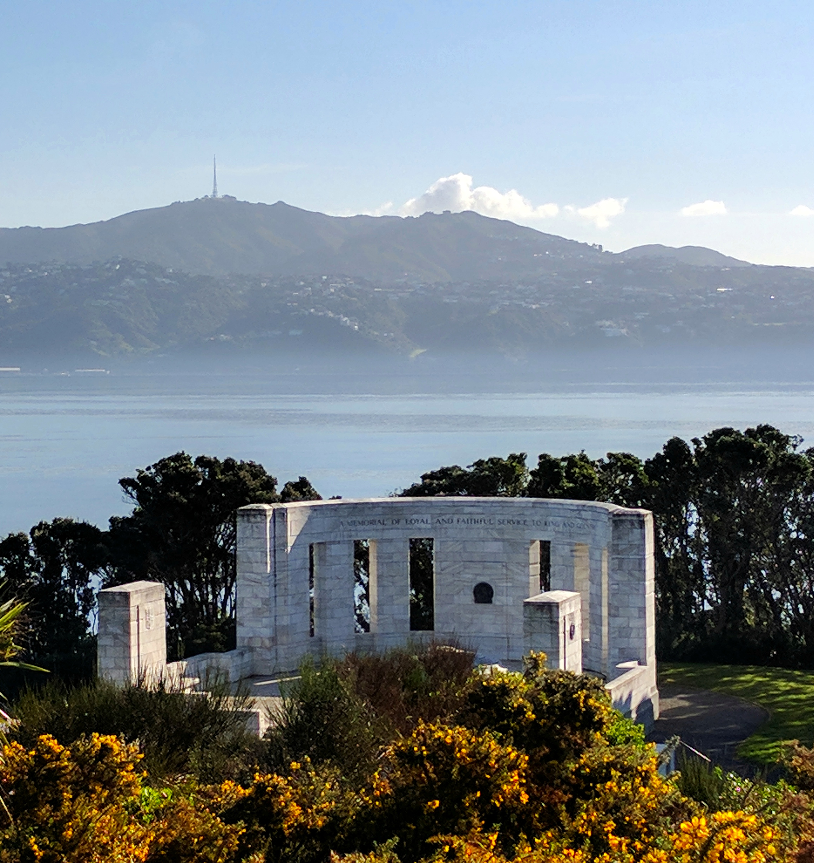 Massey Memorial, Maupuia and a very calm Wellington harbour
