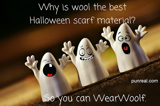 This Halloween pun indicates wearing wool is the same as being a werewolf.