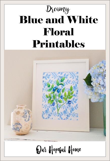 white frame blueberry botanical art print terra cotta vase blue mason jar hydrangeas