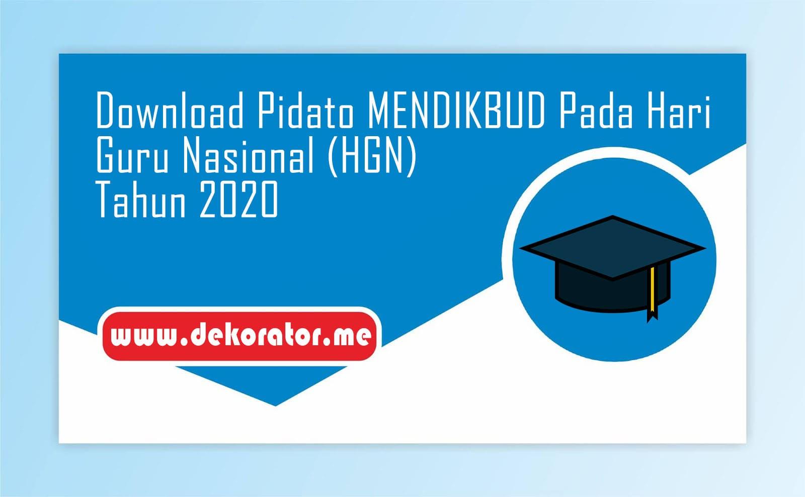 Download Pidato MENDIKBUD Pada Hari Guru Nasional (HGN) Tahun 2020