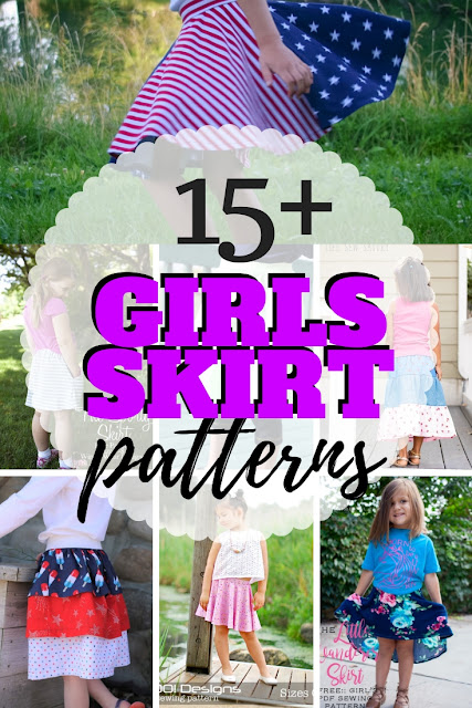 Great list of skirt sewing patterns free for little girls for fall, spring and summer sewing.