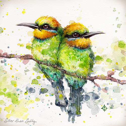 Original watercolour art by Sillier Than Sally, watercolour birds, Rainbow bee eater,