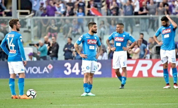 Napoli players disappointed after conceding a goal