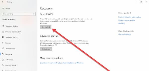 طريقة اعادة الاعدادات الافتراضية للويندوز بدون فقد الملفات