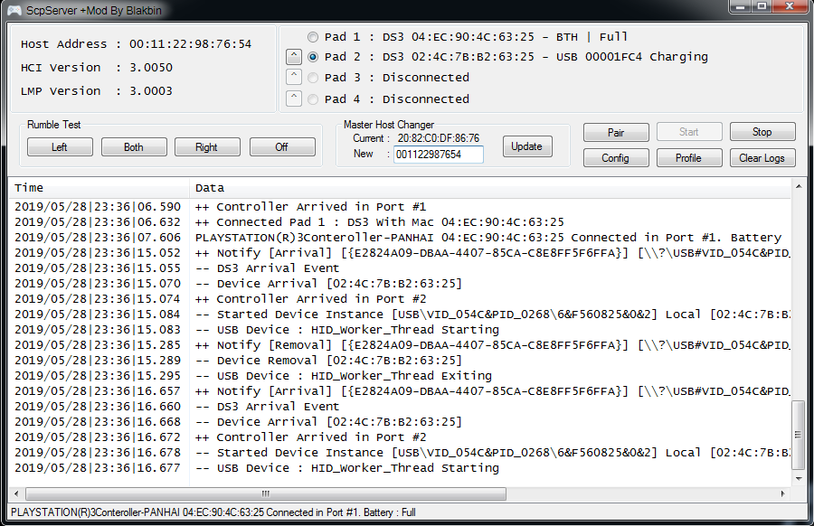Working Bluetooth Mode for SCPToolkit Fake Controller