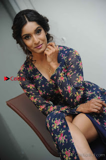 Kannada Actress Krushi Stills in Floral Blue Dress at IRA Movie Press Meet  0007.jpg