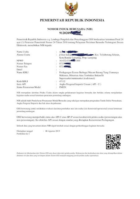 Contoh Surat API-U Nomor Induk Berusaha (NIB) Atas Nama Pribadi Untuk Usaha Kecil Dan Menengah (UKM) Indonesia