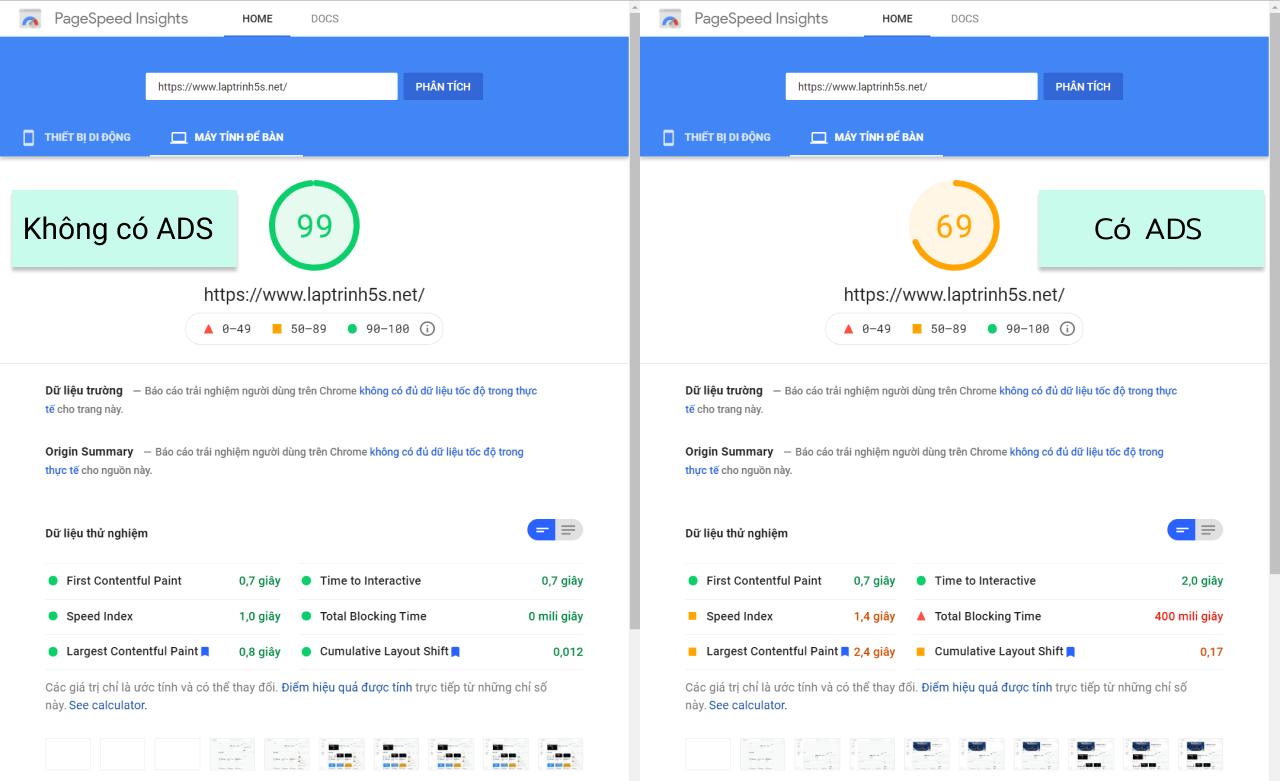 hiệu năng web khi phân tích PageSpeed Insights sụt giảm nghiêm trọng