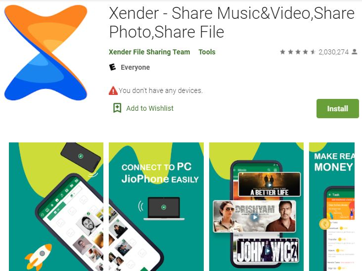 Xender file sharing app