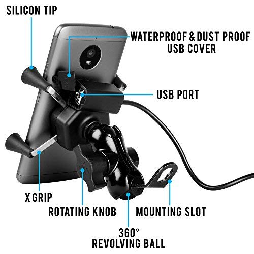 Autofy A-12 X-Grip Bike Mobile Charger & Phone Holder,cam mount for bike