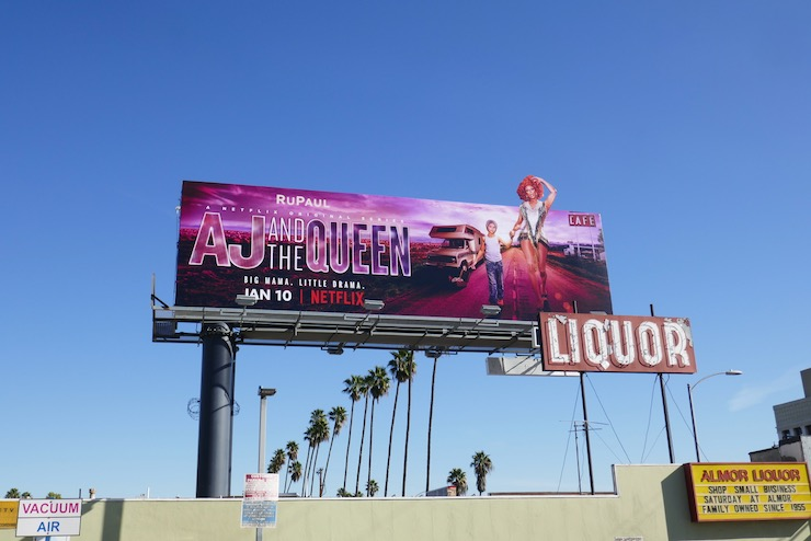 AJ and the Queen extension billboard