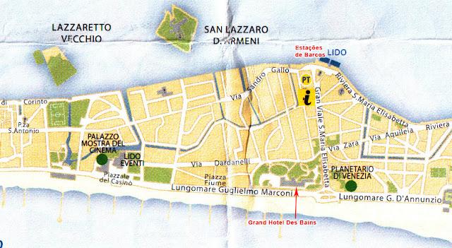 Mapa da principal parte do Lido di Venezia chamada Lido
