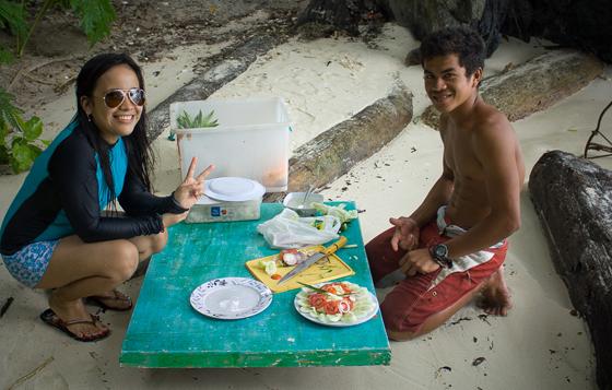 Lunch at Secret Beach El Nido Palawan Philippines