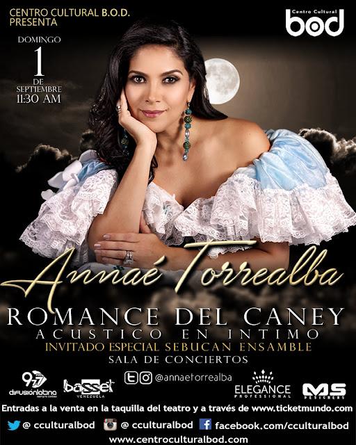 ESPECTÁCULO: Annaé Torrealba presentará concierto acústico e íntimo el 1 de septiembre en el Centro Cultural BO en Caracas.