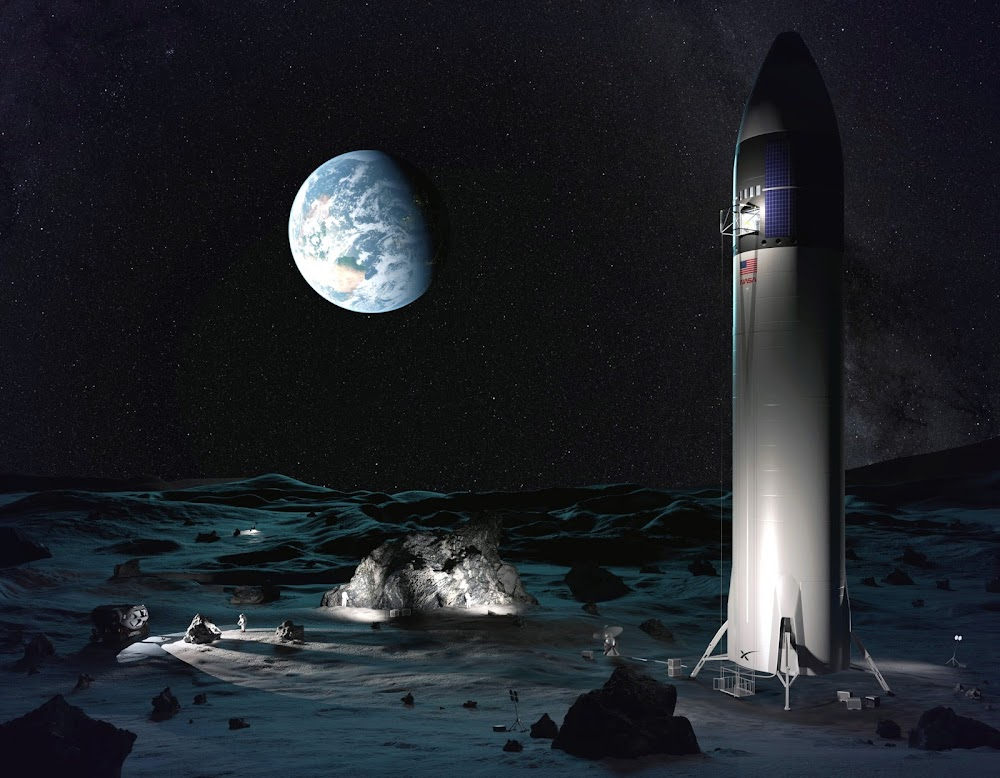 SpaceX's Lunar Starship delivering cargo and crew for NASA's Artemis Base Camp by Nick Henning