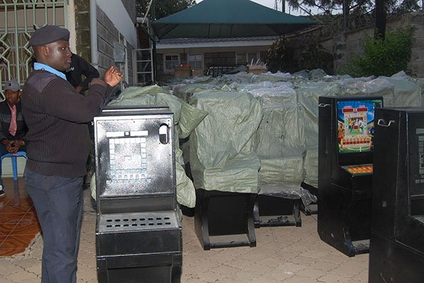 Gambling Machines confiscated in Nakuru. PHOTO | NMG