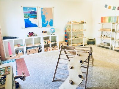 Montessori Homeschool Space with materials and shelving